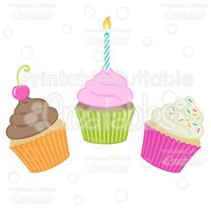Birthday Cupcakes SVG Cut Files & Clipart - Scrapbook cut files for your Silhouette or Cricut cutting machines! Commercial Use included! Printablecuttable... #scrapbooking #cardmaking #papercraft #vinylideas #vinylcrafts #cutfiles #cutfilessvg #cuttingfiles #svgfiles #scrapbookcutting #birthday #party