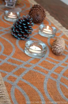 Stencil a Fall Table Runner project with Chalk Paint® and the Teardrop Trellis wall stencil from Royal Design Studio