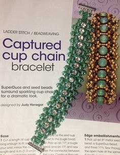 """Just finished the Captured Cup Chain Bracelet by Judy Henegar from April 2015 Bead & Button. Changed it up a bit. Used Transparent Green AB 3mm Bugles, Chartreuse Lined Green AB 11"""" Seed Beads, 2mm Light Green Fire Polish, Clear Crystal Cup Chain and Green Luster Super Duos. ."""