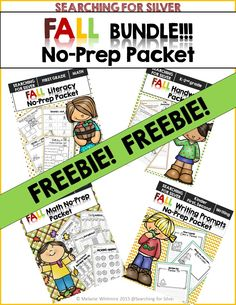 Math, literacy, handwriting, and writing prompts NO-PREP. FUN and engaging activities for FALL first graders!