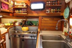 Boat Galley- Keep things put away in cupboards, pouches or bags so they don't go flying if a wave comes along unexpectedly. This also makes things easy to find.