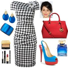 Checked Dress with Cobalt & Red Accessories by veradediamant on Polyvore featuring polyvore, moda, style, Dolce&Gabbana, Christian Louboutin, MICHAEL Michael Kors, Alexis Bittar and J. Mendel