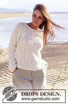 Free knitting patterns and crochet patterns by DROPS Design Drops Design, Débardeurs Au Crochet, Crochet Girls, Lace Knitting Patterns, Knitting Designs, Summer Knitting, Free Knitting, Roll Neck Sweater, Knitwear Fashion