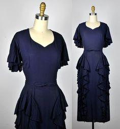 1940s •~• blue dress