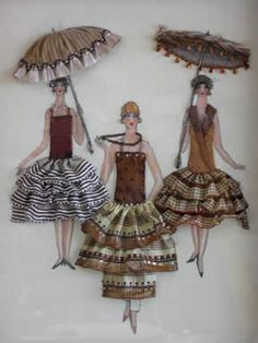 catherine-classes, Bustle and Bows Paper Dolls, Art Dolls, Arts And Crafts, Paper Crafts, Diy Paper, Ribbon Art, Vintage Crafts, Ribbon Embroidery, Fabric Art