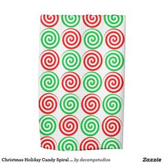 Christmas Holiday Candy Spiral Swirls Red Green Hand Towels