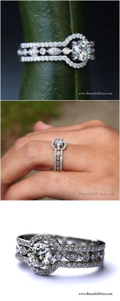 THREE IN ONE - 14k White gold - Diamond Engagement Ring - Halo - Unique - Pave - Bph015 #haloengagementring #gold14k