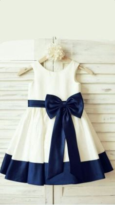 Ivory Satin Flower Girl Dress with navy blue belt/bow This is Talia's favorite choice, with the navy bow and trim.Black satins chiffon lace bowknot girls dress with straps, 2017 cute flower girl dressA-line/Princess Scoop Sleeveless Bowknot Tea-Lengt Cute Flower Girl Dresses, Little Girl Dresses, Girls Dresses, Prom Dresses, Flower Girls, Wedding Dresses, Dress For Girl Child, Baby Flower, Evening Dresses