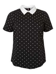 COLLARED SHORT SLEEVED TOP, Black