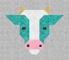 Cow Quilt BLOCK Pattern, PDF, Instant Download, modern patchwork, cattle, animal, cute, fresh, farm