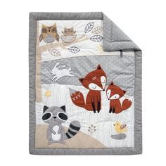 Into the Woods Gray/White Tree Fox Raccoon Crib Bedding Set Manta Animal, Fox Quilt, Wood Crib, Fabric Tree, Custom Wall Decals, Baby Quilt Patterns, Toddler Quilt, Animal Quilts, Applique Quilts