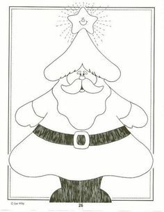 Natal would be nice out of cardbparo Christmas Tree And Santa, Felt Christmas Ornaments, Christmas Colors, Christmas Art, Wool Applique, Applique Quilts, Embroidery Applique, Santa Coloring Pages, Christmas Coloring Pages