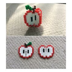 Perler beads red 3-D apple