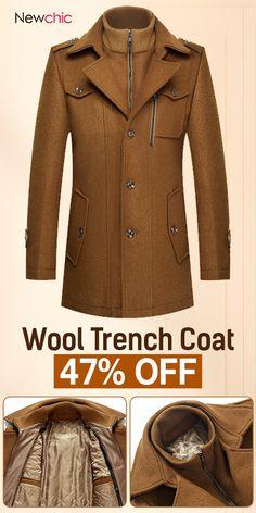 09c81d82811 Mens Winter Thickened Warm Wool Coat Turndown Collar Zipper Button Outwear   jacket  coat