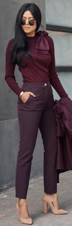 #winter #outfits maroon long-sleeved top and dress pants