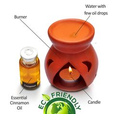 Cinnamon Oil Burner The warm and spicy aroma of cinnamon is often associated with the holiday season. Once thought to be more valuable than gold, this highly versatile essential oil also offers a variety of health benefits. Benefits ● In addition, the cinnamon essential oil is said to stimulate,circulation ● reduce stress ● relieve pain ● fight off infections ● improve digestion ● protect against insects. Cinnamon Essential Oil, Essential Oil Scents, Happy New Year Gift, New Year Gifts, Tea Light Candles, Tea Lights, Cinnamon Leaf Oil, Natural Air Freshener, Oil Warmer