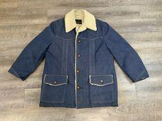 Long Jackets, Winter Jackets, Denim Button Up, Button Up Shirts, Hipster Stuff, Shearling Jacket, Vintage Denim, Carhartt, Workwear