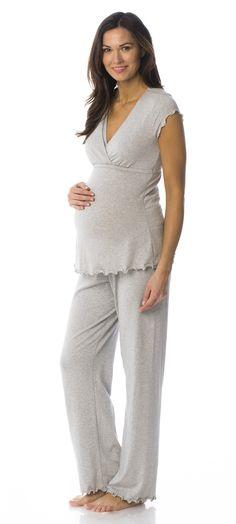 Majamas Genna Maternity & Nursing PJ Set in Pebble Maternity Pajama Set, Nursing Pajama Set, Maternity Nursing Pajamas, Maternity Sleepwear, Stylish Maternity, Maternity Fashion, Maternity Activewear, Pregnancy Outfits, Pregnancy Style