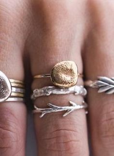 Sticks and Stones Ring Set,  Jewelry, ring sets  nature  twig  pebble, Chic