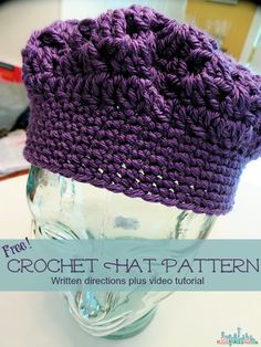 Crochet How To: Free Adult Hat Pattern and Video Tutorial https://babytoboomer.com/2013/05/19/free-adult-hat-pattern/