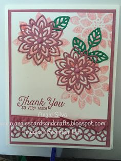 features Stampin Up's Flourishing phrases and coordianting Flourish thinlet dies; Angie's Cards and Crafts: Team Stamp It June Blog Hop