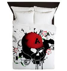 Skull with grunge, Personalize your bedroom and protect your comforter with a custom duvet cover. You can rest in luxurious comfort under your soft duvet, the only thing hard about it is getting up the next morning!