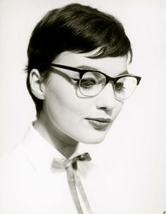 "Pixie, 1950's short hair.   ""A model wearing glasses, 1950. Photo by Walter Blum"" more Lucy hair ideas"