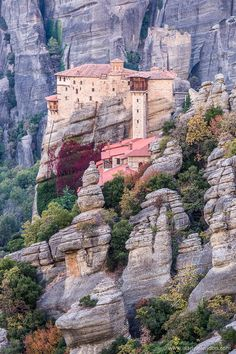 Meteora, Greece is know for its stunning rock formations with monasteries on top. #meteora #greece #europe #travel #monastery