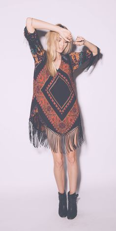 Oversized aztec fringe dress
