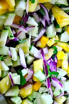 Cucumber Salad Recipe with Fresh Pineapple and Cilantro by reluctantentertainer #Salad #Cucumber #Pineapple #Cilantro #Healthy #Light