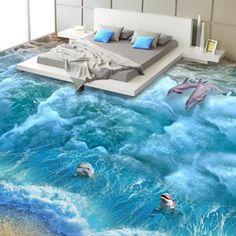 Plancher wallpaper-3d mode interior design plage conception 3d étage wallpaper pour salle de bain salon décoration papier peint