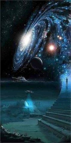Staircase to the stars / galaxy / outer space / trippy / otherworldly / digital art / skyscape / colorful