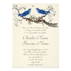 Vintage Blue Birds Wedding Invitations