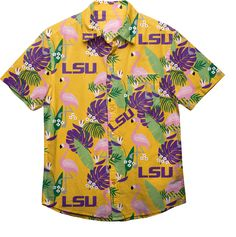 Foco Men's LSU Tigers Purple Floral Button-Up Shirt, Size: Medium Short Sleeve Button Up, Button Up Shirts, Short Sleeves, Floral Button Up, Lsu Tigers, Fitness Fashion, Men Casual, Menswear, Buttons