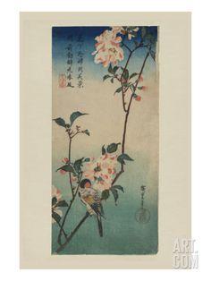 Small Bird on a Branch of Kaidozakura (Kaido Ni Shokin) Art Print by Ando Hiroshige at Art.com