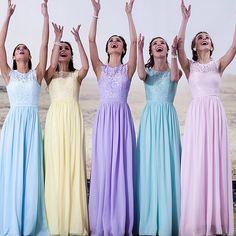 Elegant Cap Sleeves Long Yellow Mint Pink Light Blue Bridesmaid Dresses 2017 robe demoiselle d'honneur longue