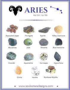 Healing Crystals aligned with the Zodiac Sign Aries Chakra Crystals, Crystals Minerals, Rocks And Minerals, Crystals And Gemstones, Stones And Crystals, Gem Stones, River Stones, Chakra Stones, Crystal Healing Stones