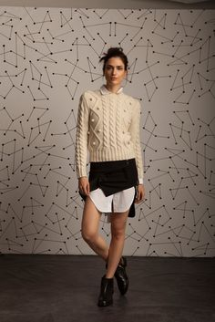 Carven Knit Ball Detail Cable Sweater, Rag & Bone Nightingale Hi/Lo shirt dress, Anthony Vaccarello Ruffle Trin Satin Skirt, CASADEI Chelsea chain detail Flat Leather Boot