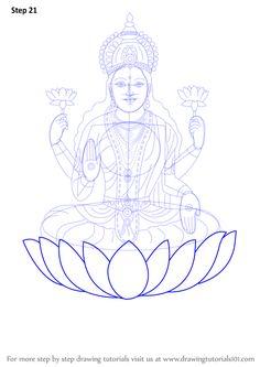 Learn How to Draw Lakshmi Mata (Hinduism) Step by Step : Drawing Tutorials Kerala Mural Painting, Tanjore Painting, Indian Art Paintings, Galaxy Drawings, Pencil Art Drawings, Mandala Art Lesson, Mandala Drawing, Diwali Drawing, Tibet Art
