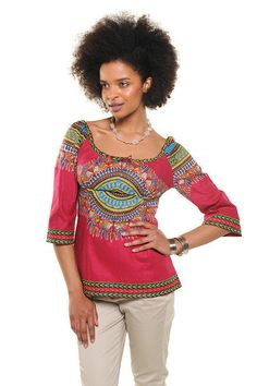 Available for immediate dispatch    A great stylish weekend essential thats easy to match with jeans, linens or a skirt. A classic cerise cotton Dashiki