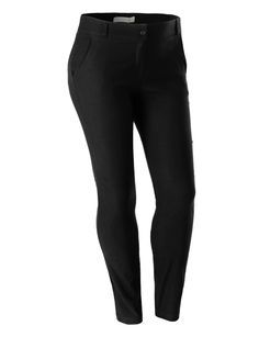 LE3NO Womens Plus Size Stretchy High Waisted Straight Leg Pants