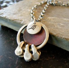 Sterling silver and copper bird necklace by coldfeetjewelry, $65.00