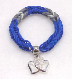 Rainbow Loom Bracelet, Dallas Cowboys Colors with Two Heart Charms
