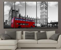 Extra Large Wall Art London City and Red Bus Canvas Printing