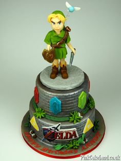 Zelda Birthday Cake in London #zelda #cakes #london http://www.pinkcakeland.co.uk