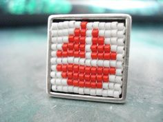 Miyuki delica ship silver ring, Red ship square ring, Marine ring, Ocean inspired jewelry, Nautical jewelry, Mother's day, Best friend gift. Nautical Jewelry, Unique Jewelry, Square Rings, Gifts For Friends, Silver Rings, Beaded Bracelets, Ocean, Ship, Inspired