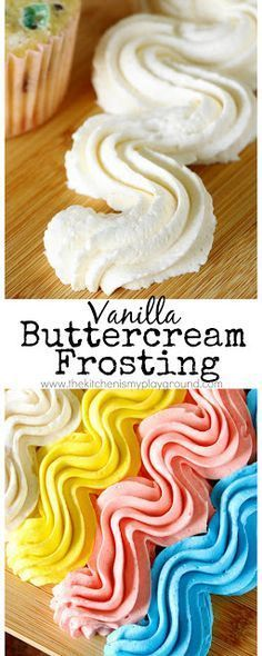 Vanilla Buttercream Frosting ~ this fluffy vanilla frosting is loaded with great vanilla flavor! www.thekitchenismyplayground.com