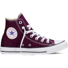 Converse Chuck Taylor All Star Fresh Colors – black cherry Sneakers ($55) ❤ liked on Polyvore featuring shoes, sneakers, converse, sapatos, black cherry, star shoes, black hi tops, black trainers, converse high tops and high top sneakers