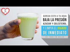 Agrega esto a tu agua y BAJA LA PRESIÓN, el AZÚCAR, COLESTEROL y limpia el HÍGADO de inmediato - YouTube Blood Pressure, Glass Of Milk, Diabetes, Medicine, Drinks, Healthy, Food, Natural Beauty Recipes, Biology