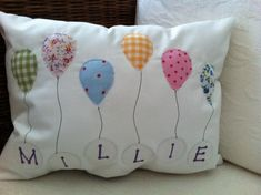 Personalised  Girls Balloon Cushion - Folksy